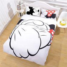 Especial contra el apretón de manos de Mickey Mouse del lecho estilo de moda ropa de cama calificado cubierta del edredón regalos para el hogar Full Twin Queen(China (Mainland))