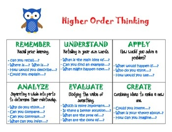 Higher order thinking essay questions