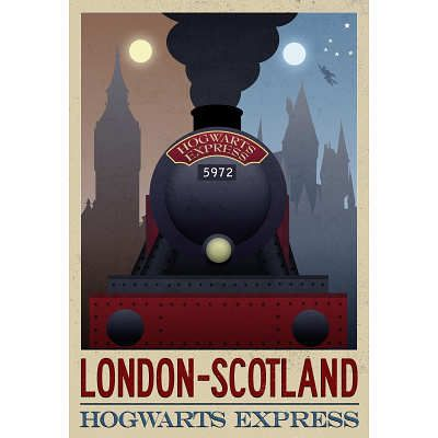 London- Scotland Hogwarts Express Retro Travel Poster