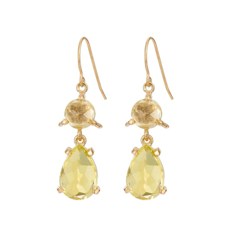 In The Wild Earrings Lemon Quartz in Gold