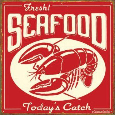 antique tin seafood sign