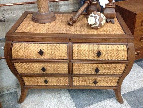 Bombay handcarved teak and ebony dresser enhanced with woven peel rattan
