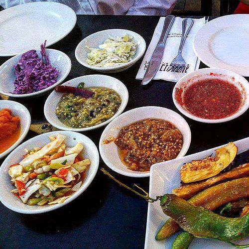 Just starters at Benny Hadayag restaurant in the port of Tel Aviv. OMG... I get a lot of vegan meals while my friends loads of fish and sea food. #AlloverTLV #Israel #vegan #veganism #veganporn #veganlife #veganfoodshare #veganliving #veganlifestyle #vega