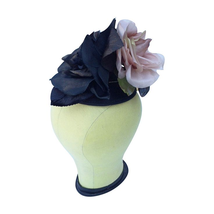 Don Marshall Silk Floral Fascinator Hat 1950s | From a collection of rare vintage hats at https://www.1stdibs.com/fashion/accessories/hats/