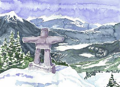 Inukshuk at Whistler Watercolour ©2009 Charlene Brown, 1150 words