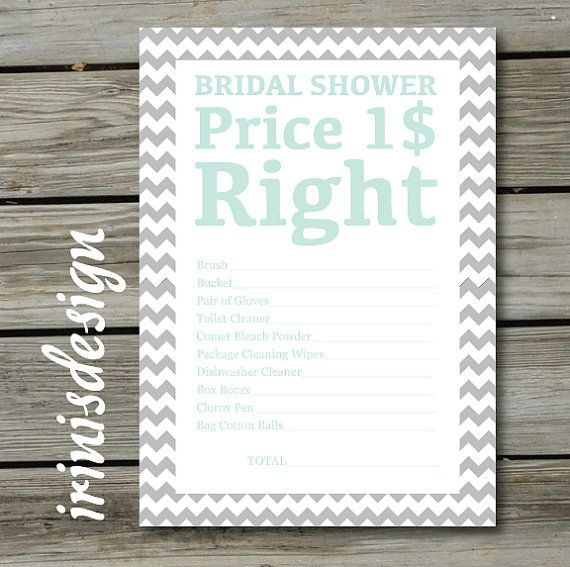 Bridal Shower Game The Price Is Right PRINTABLE By