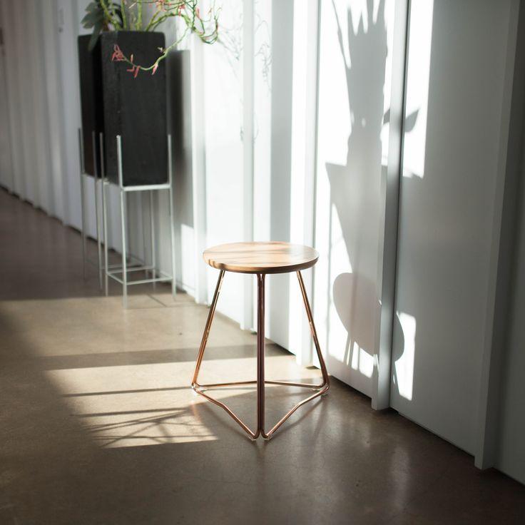 TRI450 copper and american white oak stool