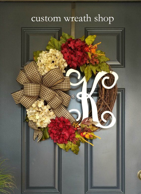 Fall Wreaths For Front Doorwreaths For Fallautumn Etsy Door Wreaths Diy Front Door Wreaths Diy Fall Monogram Wreath