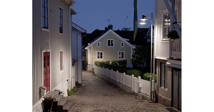 Stockholm II post illuminates back street in Åhus