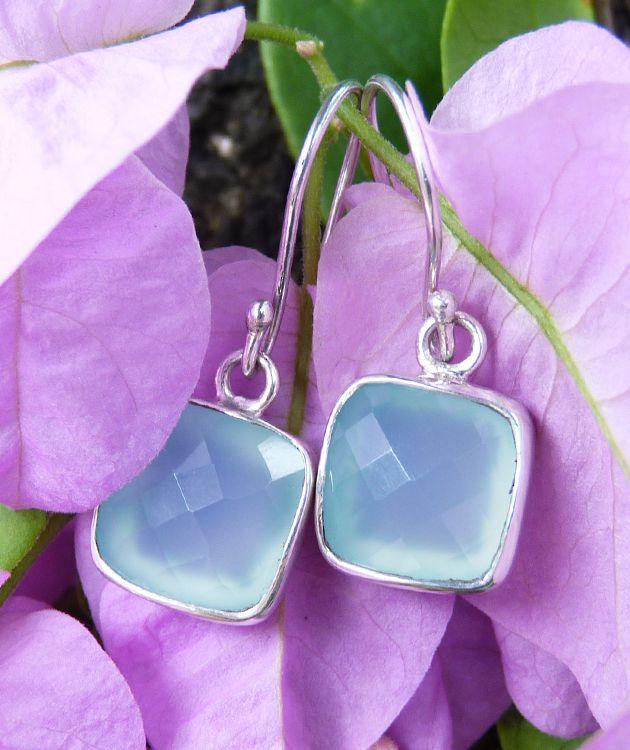 Sterling silver blue/green chalcedony earrings