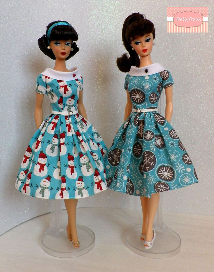 Lady Snow.  Vintage Print Dress for Barbie doll by Dollydolls. de MyDollyDolls en Etsy