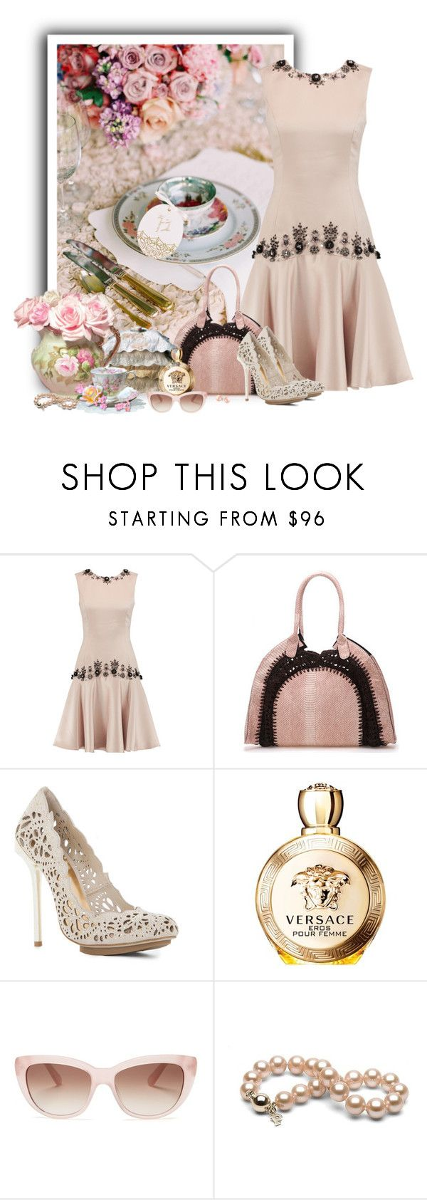 """""""Vestido de verão"""" by sil-engler ❤ liked on Polyvore featuring Mikael Aghal, BCBGMAXAZRIA, Versace, Kate Spade and Bling Jewelry"""