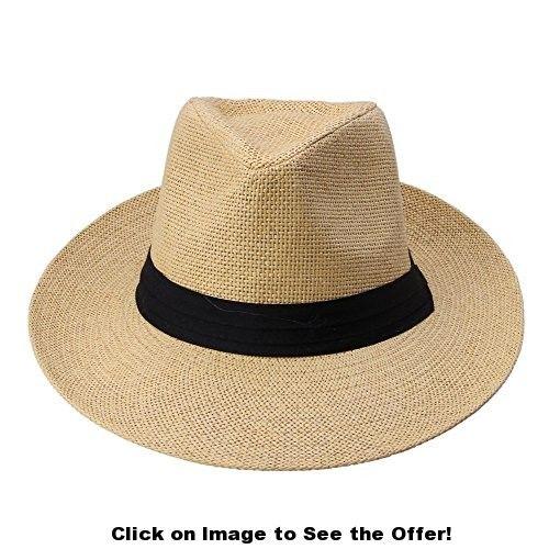 Anself Panama Straw Sun Hat Contrast Ribbon Beach Cap