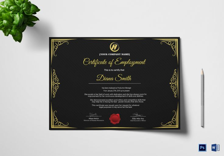Qualified Employment Certificate Template  $12  Formats Included : MS Word, Photoshop  File Size : 11.69x8.26 Inchs #Certificates #Certificatedesigns #Employmentcertificates