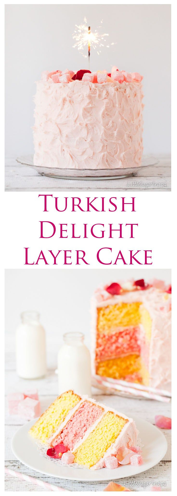 Turkish Delight Layer Cake:layers of rose and lemon sponge cake topped with a subtle rose icing, chunks of Turkish Delight & edible rose petals. It's enough to satisfy the sweet tooth of a child but not so sweet it would offend more mature taste-buds.