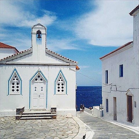 Andros island (Άνδρος). The elegant streets of Chora village , gives a unique atmosphere in the island !!