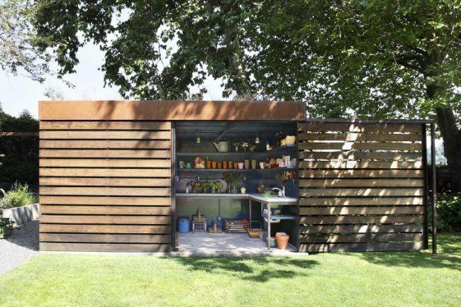 Gartenhaus Ideen Gertenschuppen Umpflanzen Werkzeug Gartenarbeit Modern Moderner Schuppen Gartenhaus Aufbewahrung Garten