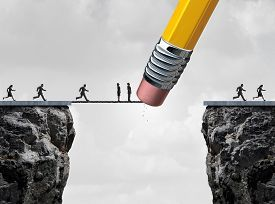 foto of symbols - Missed opportunity concept and too late symbol as slow and delayed businesspeople stuck on a bridge because an eraser erased the path with other quick employees continuing the race over the cliff as a business metaphor - JPG