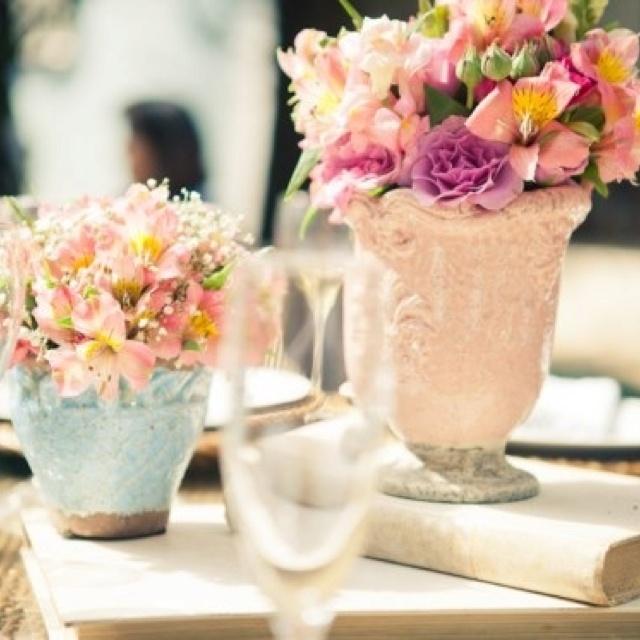 Azul e rosa  Decoração de casamento  Pinterest
