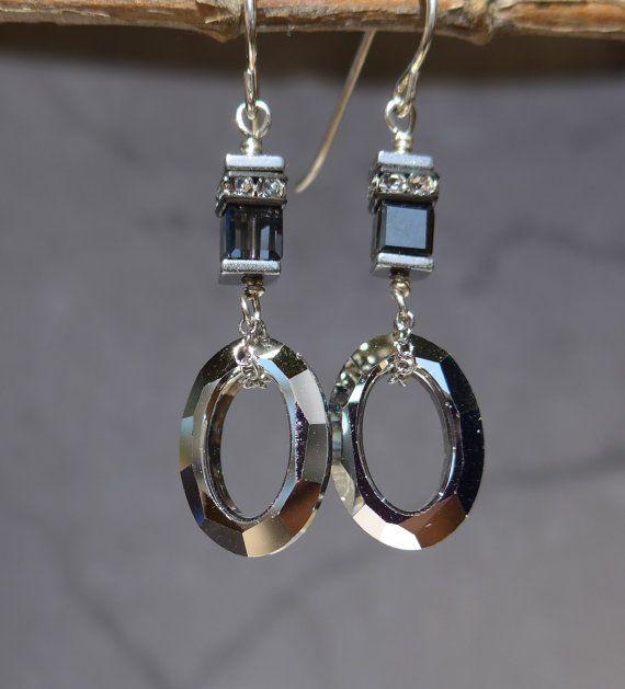 Swarovski Crystal Earrings Modern Earrings by ThreeMagicGenies