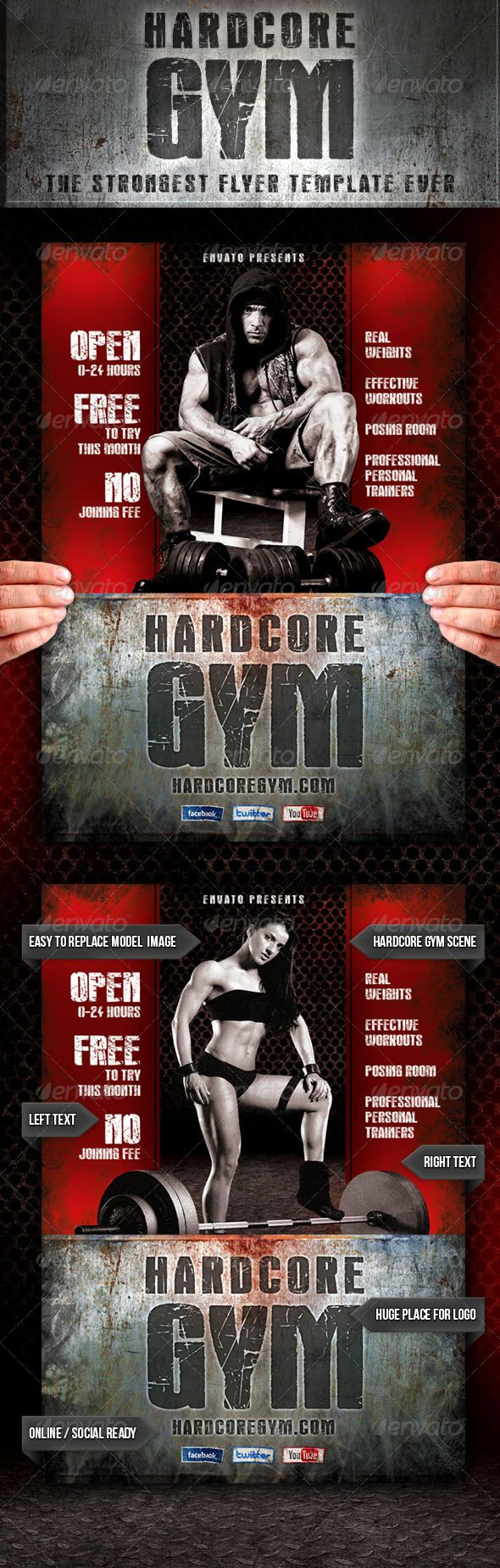 PSD Hardcore Gym Flyer  Template • Only available here ➝ http://graphicriver.net/item/hardcore-gym-flyer/4422943?ref=pxcr