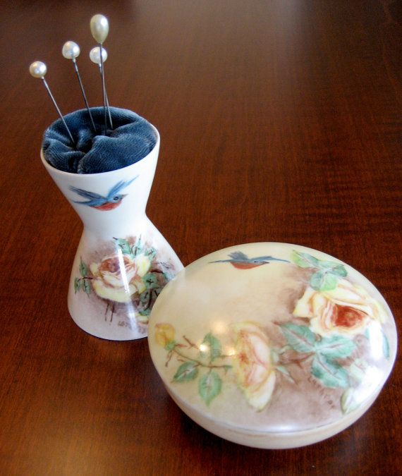 Vanity Dresser Set  Porcelain Hand Painted by RedDressHanger, $45.00