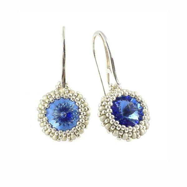 Kolczyki Beaded Swarovski Elements - Sapphire od TarragonArt, rękodzieło