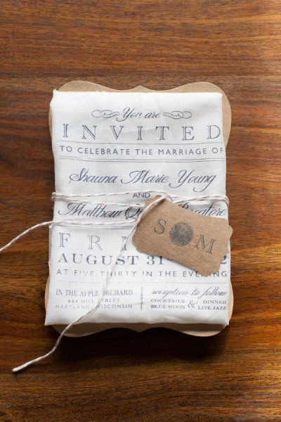 Cloth printed invites - lovely idea