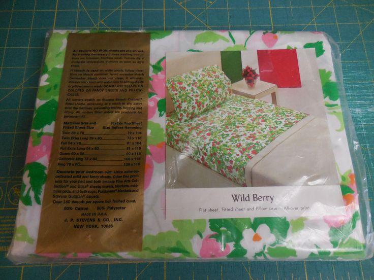 vintage stevens utica u0027wild berryu0027 pattern percale bed sheets floral pink