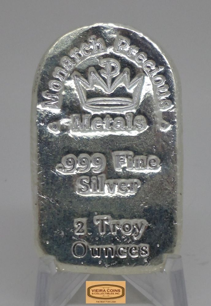2 Oz Monarch Precious Metals Silver Bar 0 999 Silver Hand Poured B12603 Silver Bars Precious Metals Silver
