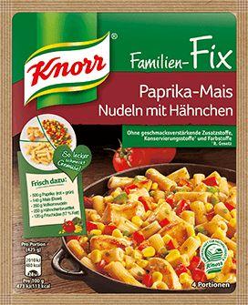 KNORR Familien-Fix Paprika-Mais Nudeln mit Hähnchen kombiniert beliebte Zutaten und ist das perfekte Familiengericht. Mit den KNORR Fix Produkten begeisterst du Familie und Freunde. Mit der beliebten Würzbasis gelingen leckere und abwechslungsreiche Gerichte garantiert.