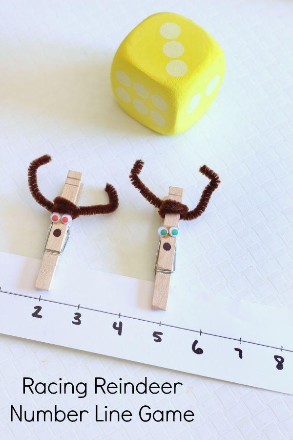 Racing reindeer numbers game for preschoolers. A fun Christmas activity for kids!