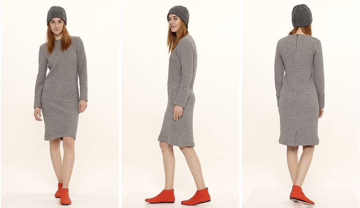 Dori Tomcsanyi grey quilted wool long sleeve dress.  Available from September at the webshop. http://doritomcsanyi.com/
