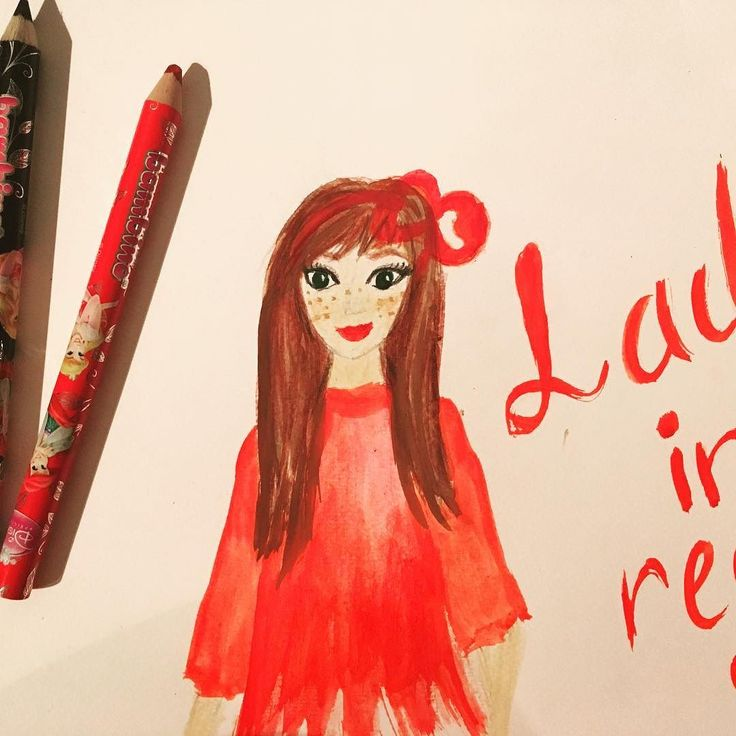 lady in red <3 #sketch #illustrator #painting #drawing #ladyinred #girl #art #watercolor #pencils #kaizerart #cutegirls