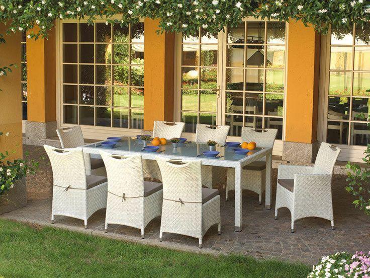 Tavolo da giardino in rattan sintetico + 8 sedie con cuscini ( Cod. DSO 14)