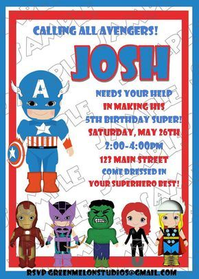 Avengers Captain America inspired birthday party printable invitations UPrint customized card by greenmelonstudios