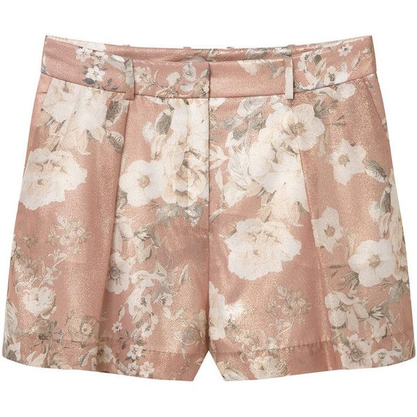MANGO Floral Print Shorts ($50) ❤ liked on Polyvore featuring shorts, bottoms, short, short shorts, zipper shorts, flower print shorts, floral printed shorts and shiny shorts