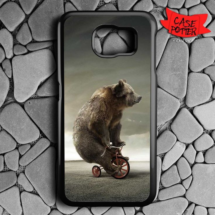 Bear In Bicycle Samsung Galaxy S7 Black Case