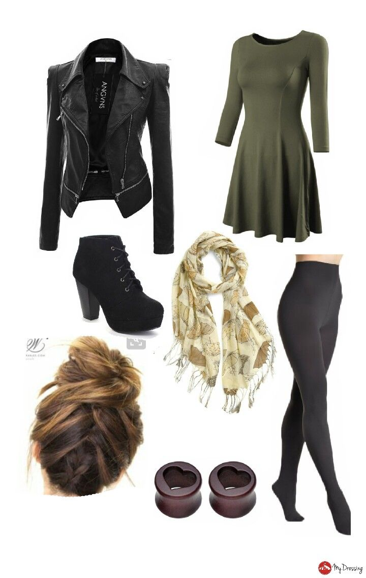 Green olive dress black leather jacket scarf black panty hose braid up brunette bun black lace up heels heart gauges cute edgy winter fall autumn outfit