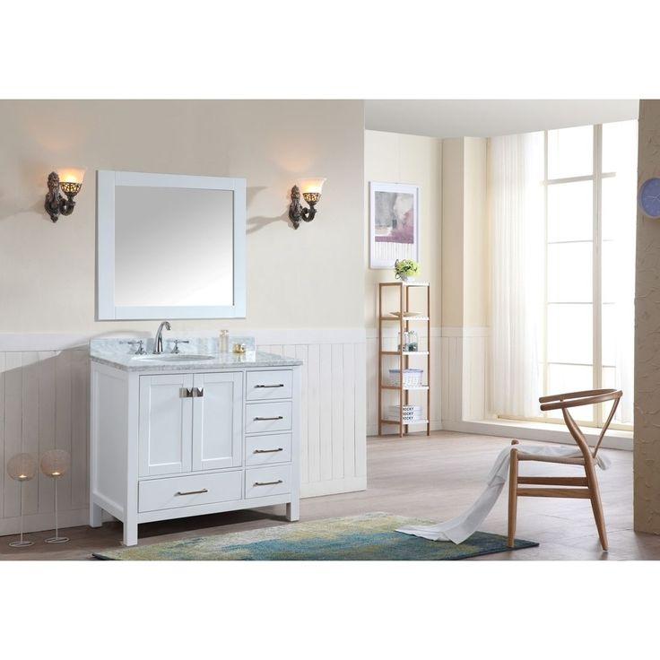Ari Kitchen & Bath Bella 36 Inch White Single Bathroom Vanity Set with Mirror (White), Size Single Vanities