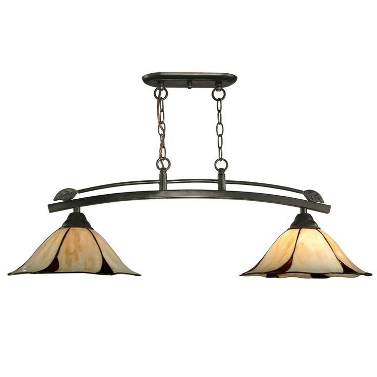 37.5 Dark Bronze San Antonio 2-Light Hand Crafted Glass Hanging Ceiling Light Fixture, Amber