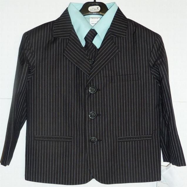 This Boys Aqua Pinstripe Suit comes with five pieces that includes an aqua dress shirt, matching pinstipe jacket, vest, pants, and tie.  The pinstripes are aqua colored. This suit is a 65%-35% poly-rayon