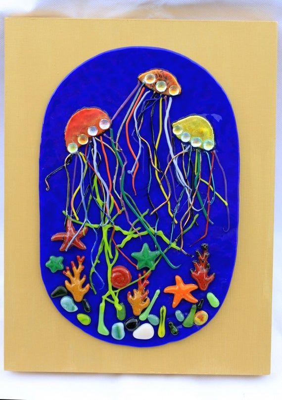 Jellyfish Fused Glass Wall Art Ocean Art Seaweed Art Etsy In 2020 Seashell Wall Art Rock Painting Designs Rock Painting Patterns