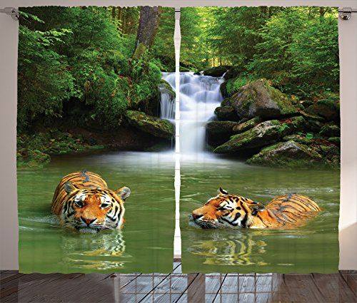 Safari Decor Curtains By Ambesonne Siberian Tigers In Water Waterfall Pool Woodland Swimming Asian Natural  Living Room Bedroom Decor 2 Panel Set 108W X 84L Inches *** You can get more details by clicking on the image. Note: It's an affiliate link to Amazon.