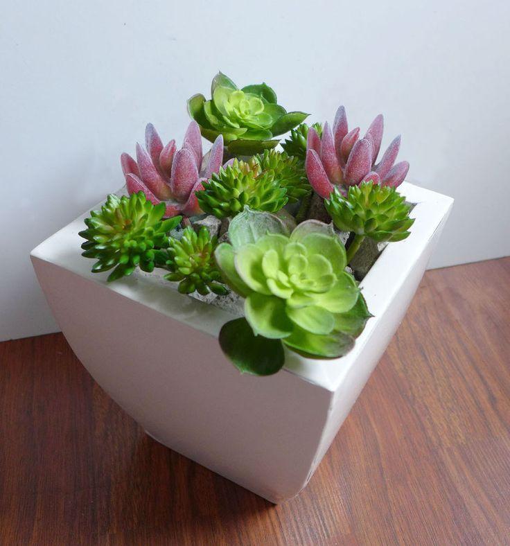 Set of 10 Artificial Mini Lotus Plastic Grass Miniature Succulents Plants #Unbranded
