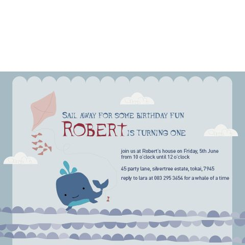 Nautical Whale Invitation | creativeparty.co.za Have a whale of a time when you choose this customisable invitation for your childs' party. We have a team of designers waiting to personalise your child's name and party details into this selected theme . All you need to do is choose how many invitations you need, send us the party details and we will take care of the rest.
