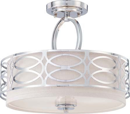 View the Nuvo Lighting 60/4629 Harlow Three Light Semi-Flush Ceiling Fixture with Slate Gray Fabric Shade, in Polished Nickel Finish at Build.com.