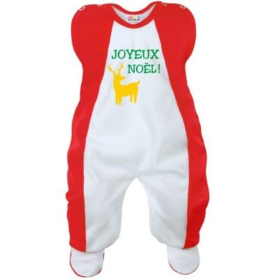 Grenouillère bébé : JOYEUX NOËL (7 coloris)