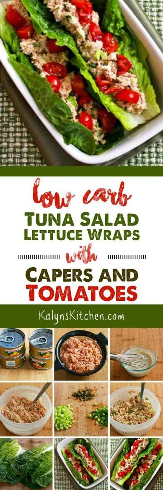 Low-Carb Tuna Salad Lettuce Wraps with Capers and Tomatoes