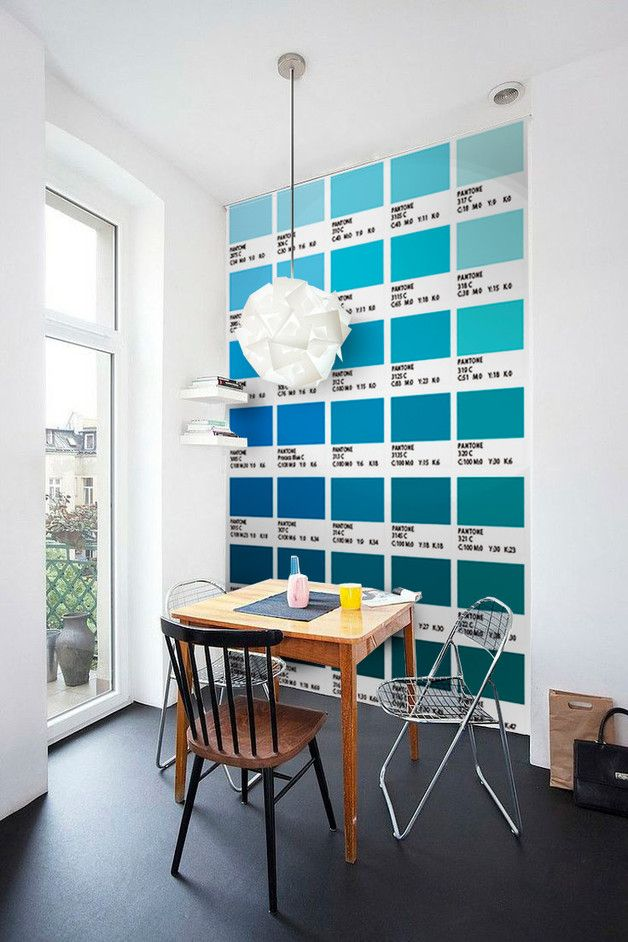 Fliesenaufkleber der Blautöne von Pantone als witzige Wohndeko / colour your home: wall paper with pantone colours, shades of blue made by Wall-Decals via DaWanda.com